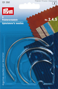 3 x PRYM UPHOLSTERY CURVED HAND SEWING NEEDLES 131350 Free Pamp;P GBP 3.59