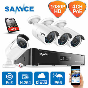 SANNCE 1080P 4CH NVR POE 4x 2MP Outdoor Network IP Security Camera System 0-4TB
