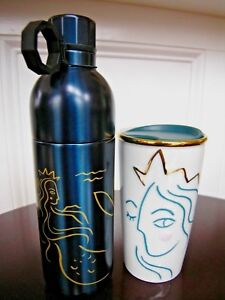 LOT 2 Starbucks Anniversary SIREN 2 Piece Stainless Steel Water BOTTLE TUMBLER