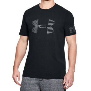 Under Armour UA Freedom BFL Tonal USA Flag Mens HeatGear® Black Gray T Shirt $22.00