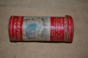 Vintage Metal Tube Lure in Original Mailing tube wPicture Label Providence RI