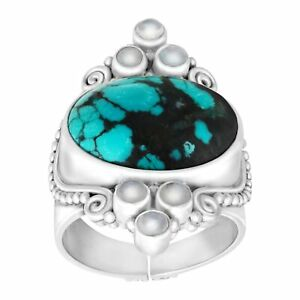 Sajen Natural Turquoise and Moonstone Scroll Ring in Sterling Silver