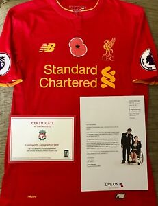 Nathaniel Clyne Liverpool FC Poppy Match Worn & Signed Shirt with COA and Letter
