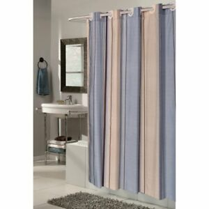 Carnation Home Fashions EZ On Fabric Shower Curtain with Built in Hooks -