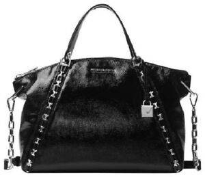 NWT MICHAEL KORS Sadie Large Top Zip Satchel Black Patent Leather Handbag $398