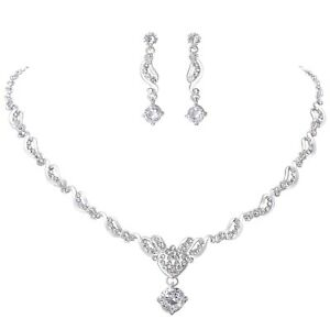 Wedding Crystal Jewelry Set For Girls With Necklace Earrings in Cubic