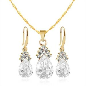 Gold Bridesmaid Jewelry Set Teardrop Crystal Earrings Necklace Sets for Girls Wo