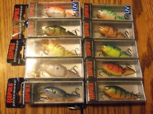 RAPALA jointed shad rap 04's----lot of 10 DIFFERENT COLORED FISHING LUREs-jsr04