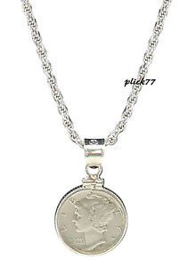 Mercury Dime Coin Pendant with Sterling Silver Diamond Cut Rope Chain Necklace