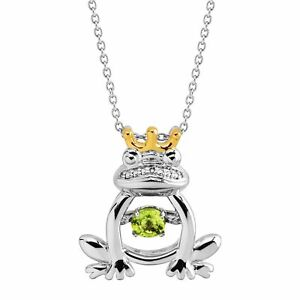 Natural Peridot  Frog Prince Floater Pendant 14K Gold-Plated Sterling Silver