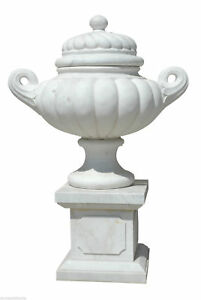 Large Jar white Marble with Handles and Cover Handcarved Marble Big Vase