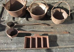 3 Cast Lead Melting Pots RCBS Ingot Mold 2 Ladles NR