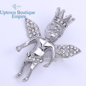 19 Men#x27;s Stainless Steel Silver Baby Angle Crown Pendant $8.99