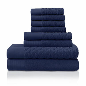 Pure Turkish Cotton 8-Piece Towel Set Navy Blue