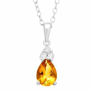 1 ct Natural Citrine & White Topaz Pendant in Sterling Silver