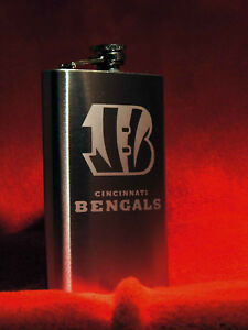 HAND ETCHED 8 OUNCE STAINLESS STEEL FLASK WITH NFL TEAM LOGO