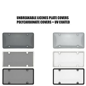 Smoked Clear License Plate Cover Frame Shield Tinted Bubbled Flat Car $19.95