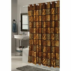 Carnation Home Fashions EZ On Fabric Shower Curtain with Built in Hooks - Wild