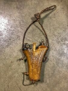 Hand Crafted Vintage Elk Horn Powder Flask with 5 Powder Compartments