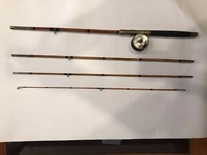 S.Allcock Rare Antique wood or bamboo Fly Fishing Rod & Brass Fishing Reel