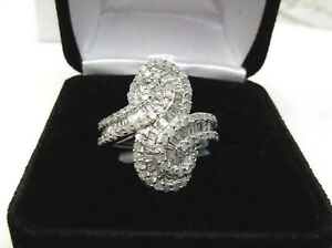 Unique Modern 1.25 CT Diamond Cocktail Ring Round Baguette Sterling Silver Sz 6