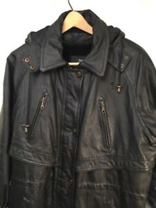 Men Winter removable hoodie Leather Jacket by THE CONNECTION NEW YORK SZ Large
