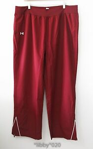 Under Armour Womens Track Wind Pants sz 2XL Warm Up Maroon NEW