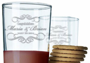 Personalized 8 or 14 oz Drinking Glass Congratulations Wedding Gift Laser Etched