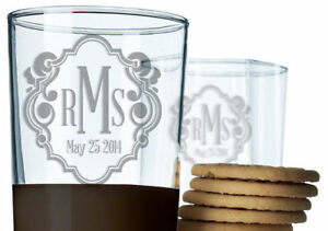 Personalized Fancy Monogram Bride and Groom Laser Etched 8 or 14 oz Beer Glass