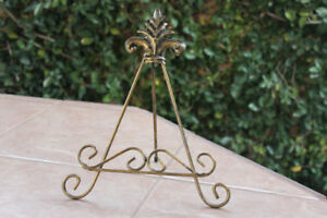 Gold Decorative Plate Holder, Cutting Board Stand, Handmade Stamped Metal Steel