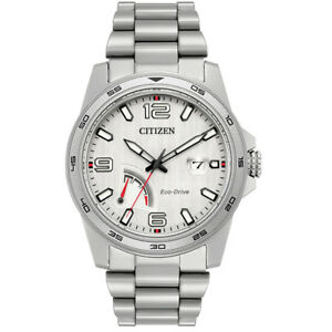 Citizen Eco Drive Men's PRT Silver Tone Bracelet 42mm Watch AW7031 54A