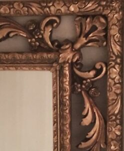 Italian Florentine antique hand carved gold giltwood frame mirror