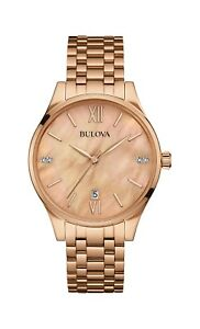 Bulova Women's 97P113 Quartz Diamond Accents Rose Gold Bracelet 36mm Watch