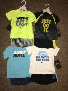 Nike Baby Boy Lot Of 4 2-Piece Outfit Shirt Shorts NWT Size 24Months 2T Dri-Fit