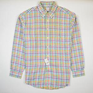 Brooks Brothers Colorful Linen Sport Shirt Button Down Plaid Long Sleeve Men's L