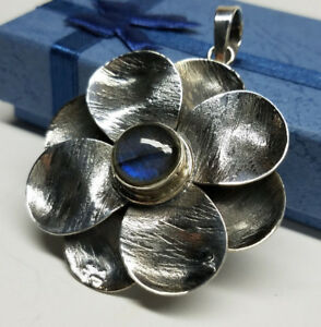 Vintage  925 Sterling Silver  Large Flower  Pedal Pendant  2 12''  INDIA