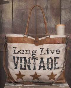Soft Canvas and Leather Tote Bag X-Large Long Live Vintage Stars Pattern Rustic