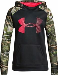 NWT sz Youth XL Girls Under Armour Storm Fleece Forest Camo Blocked Hoodie $55