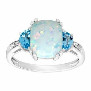 2 3 8 ct Natural Opal Swiss Blue Topaz Ring with Diamonds in Sterling Silver $112.80