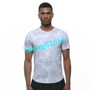 Mens Quick-drying Slim Fit Camo Printed Short Sleeve T-shirt Sport Exercise Tops