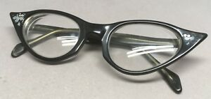 Vtg Kono Glasses Cat Eye Frames Full Rim Plastic Eyeglasses Black Flower Design