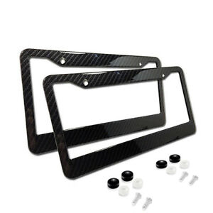 2xUniversal Carbon Fiber Style License Plate Frames for Front Rear $9.95