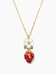 KATE SPADE Picnic Perfect Strawberry Mini Pendant Necklace Gold Plated WBRUF491