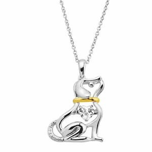 58 ct Created White Sapphire Dog Pendant in Sterling Silver & 14K Gold Plate