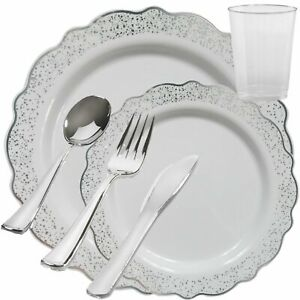 Disposable Plastic Plates White Confetti Silver Party Wedding Tableware Set