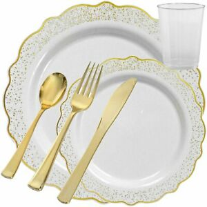 Disposable Fancy Plastic Plates White Confetti Gold Party Wedding Tableware Set