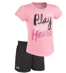 Under Armour Toddler Girl Play with Heart Tee & Shorts Set Pink Free Ship-New
