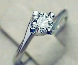 WHITE GOLD 18 CT RING WITH NATURAL DIAMOND 1.01 CT F VVS WEDDING GIFT