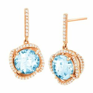 4 34 ct Natural Sky Blue Topaz & 13 ct Diamond Drop Earrings in 10K Rose Gold