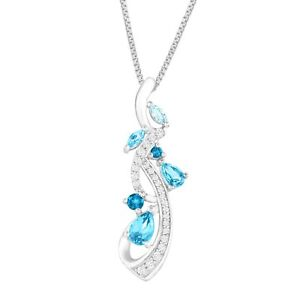 1 13 ct Natural Blue & White Topaz Vine Pendant in Sterling Silver